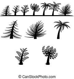 黑色半面畫像, 矢量, 樹