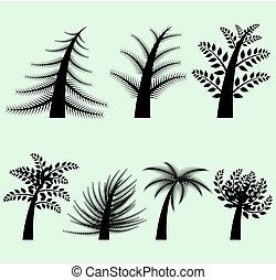 黑色半面畫像, 矢量, 樹, 彙整