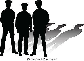 黑色半面畫像, 矢量, 警察
