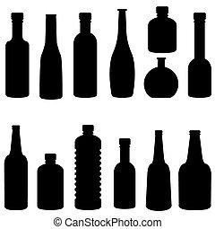 黑色半面畫像, 矢量, 集合, 瓶子