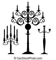 黑色半面畫像, 矢量, 集合, candelabra