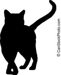 黑色半面畫像, 矢量, 黑色, 插圖, cat.