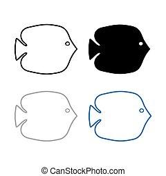 黑色半面畫像, 矢量, fish-, 插圖