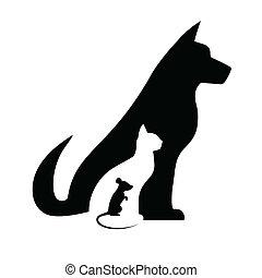 黑色半面畫像, 老鼠, 狗, 貓