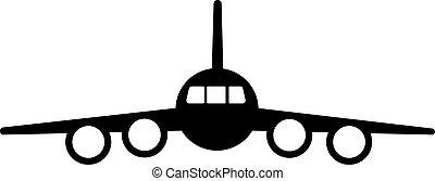 黑色半面畫像, 背景。, 噴气式飛机, four-engine, 飛机, 白色, 黑色, 乘客