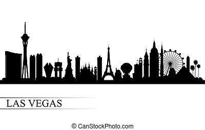 黑色半面畫像, 背景, 城市地平線, vegas, las