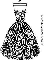 黑色半面畫像, 被隔离, 背, 矢量, 植物的服裝