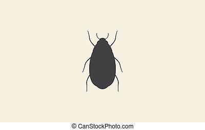黑色半面畫像, 設計, 簡單, 符號, 標識語, 蟑螂, 圖表, 圖象, 矢量, 插圖
