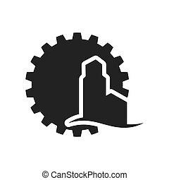 黑色半面畫像, 設計, 齒輪, 工廠