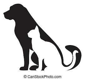 黑色半面畫像, 貓, 作品, 狗