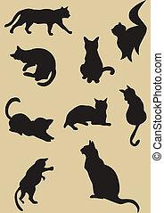 黑色半面畫像, 貓, 插圖