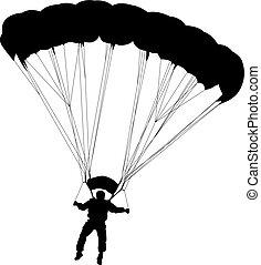 黑色半面畫像, 跳傘, 矢量, skydiver