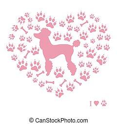 黑色半面畫像, 軌道, 形式, 長卷毛狗, 骨頭, 背景, 圖片, 狗, 好, heart.