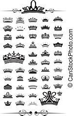 黑色半面畫像, 集合, 矢量, 王冠, 50