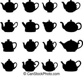 黑色半面畫像, 集合, 矢量, 茶壺, 插圖