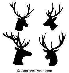 黑色半面畫像, 集合, 背景, 頭, 白色, 鹿