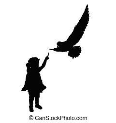 黑色半面畫像, 鳥, 插圖, 孩子