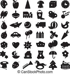 黑色半面畫像, 黑色, 玩具