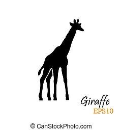 黑色半面畫像, illustration., 符號, 矢量, giraffe., logo.