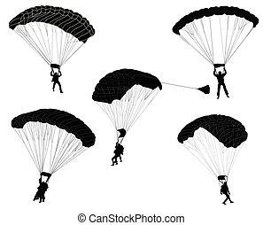 黑色半面畫像, skydivers