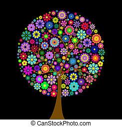 黑色的背景, 樹, 鮮艷, 花