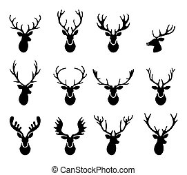 黑色, 不同, 黑色半面畫像, 鹿, 矢量, 角