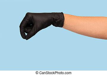 黑色, 你, 手, 醫學, 做廣告, 產品, 罐頭, 嘲弄, 插入, 手套, 你, 背景。, 向上, 握住, 對象, 藍色