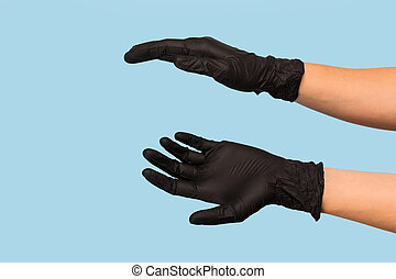 黑色, 做廣告, 握住, 罐頭, 產品, 你, 背景。, 藍色, 舉起手來, 醫學, 對象, 嘲弄, 插入, 手套, 你