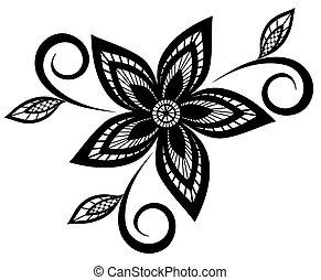黑色, 圖案, 白色, 植物