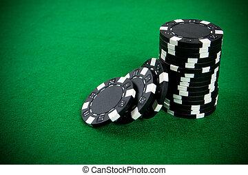 黑色, 扑克片, 堆