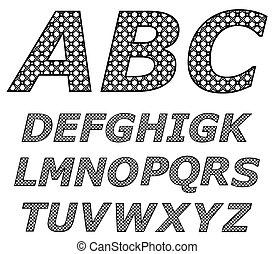 黑色, 插圖, alphabet., 矢量, 白色
