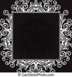 黑色, 框架, 矢量, 哥特式