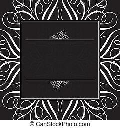 黑色, 框架, 矢量, 裝飾品