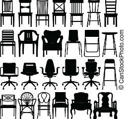 黑色, 椅子, 集合, 黑色半面畫像
