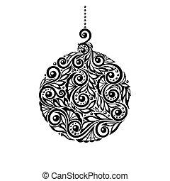 黑色, 植物, 球, 白色 聖誕節, design.