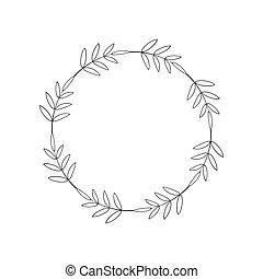 黑色, 植物, 簡單, 標簽, 邊框, outline, 線性, 最小, 雅致, 邀請, 輪, 離開, 花冠, design., 末梢, 標識語, 樣板, frame., 環繞, style., 卡片, 設計, 問候, label.
