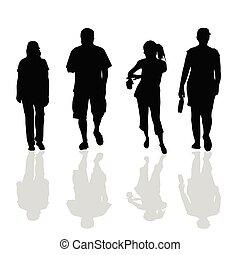 黑色, 步行, 黑色半面畫像, 人們