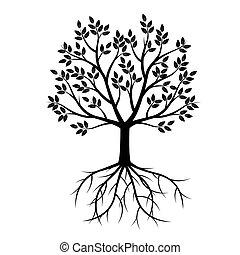 黑色, 矢量, 樹, illustration., roots.