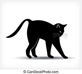 黑色, 矢量, 黑色半面畫像, cat.