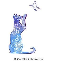 黑色, 矢量, 黑色半面畫像, illustration., cat.