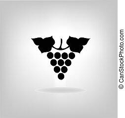 黑色, 矢量, 黑色半面畫像, illustration., grapes.