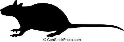 黑色, 老鼠, 矢量, 黑色半面畫像, 插圖