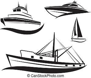 黑色, 船, 小船, 集合, 矢量