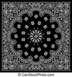 黑色, 花色絲質大手帕