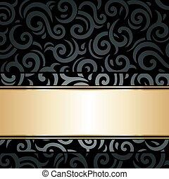 黑色, 金, 牆紙, 葡萄酒, &