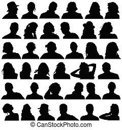 黑色, 頭, 矢量, 黑色半面畫像, 人們