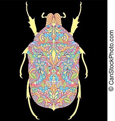 黑色, 鮮艷, 背景, 甲蟲