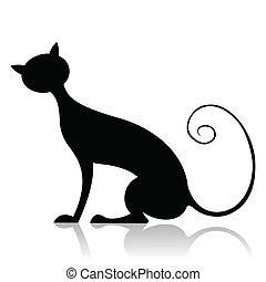 黑色, 黑色半面畫像, 貓