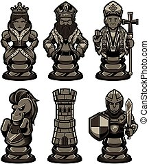 黑色, 2, 集合, 象棋塊