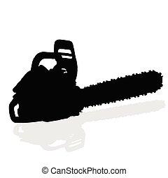 黑色, chainsaw, 矢量, 黑色半面畫像